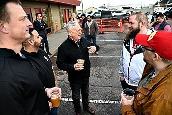 General Mattis enjoys a pint with WSU Tri Cities student veterans and Patriots Club members during the release party for the GIP 1 Picmonkey