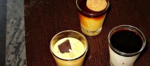 Three balsmico-influenced desserts. From left; Zabaione, Latte Alleportogese or Crème Caramel and Panna Cotta