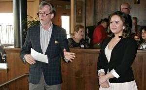 Professor Robert Harrington of Hospitality Business Management introduces Pauline at a WSU dinner at Budd's Broiler