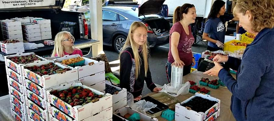 The whole family pitches in to sell their berries at Farmers Market in Pasco
