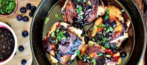 Crispy Thighs with Blueberry Sauce