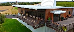 Clean architectural lines ensure a great iew for visitors to tasting room at Amavi Cellars
