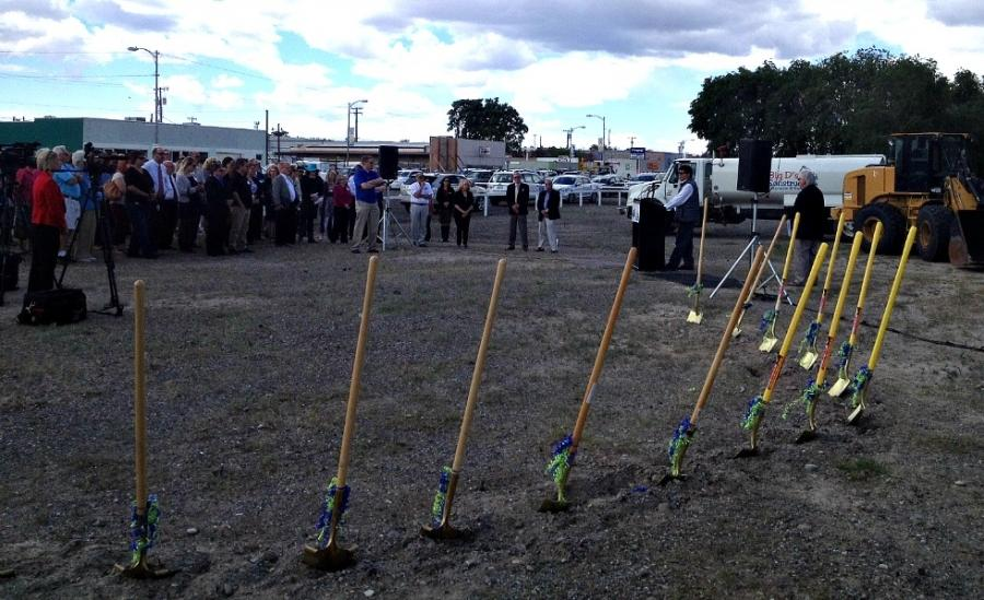 Golden shovels await ceremonial dig