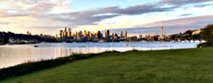 The Seattle skyline as seen from Gas Works Park .